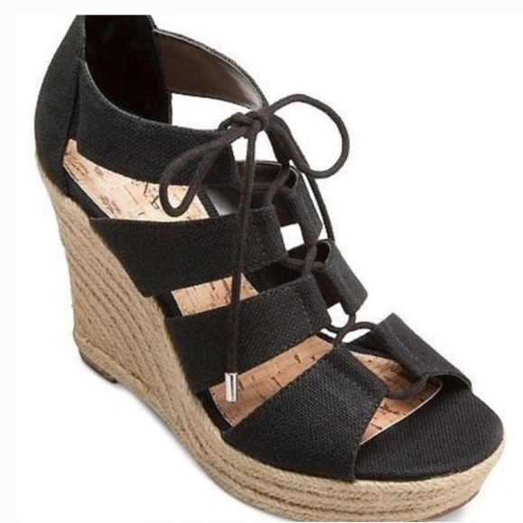 Merona Shoes - NWT Merona Mazie Black Wedge Lace Up Espadrille